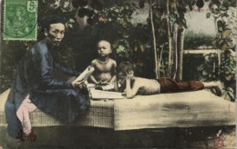Indochina, Vietnam, Native Teacher With His Young Students (1910s) Postcard - Viêt-Nam