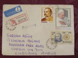 Poland 1984 Registered Cover Kolobrzeg To England - Banachiewicz - Astronomy - Pope John Paul II - Theater - Children Dr - 1944-.... Republiek