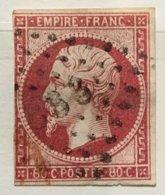 Timbre France YT 17Aa (°) 1853-60 Napoléon III 80c Carmin Clair (côte 55 Euros) – 3 - 1853-1860 Napoleon III