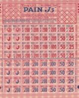 Tickets De Rationnement 1939 1945 - Pain J3 - Secours National - 1939-45