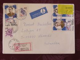 Poland 1990 Registered Cover Bialobrzegi K. Zegrza To Sweden - Monte Cassino Battle - Flowers - Fruits - 1944-.... Republic