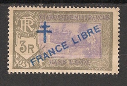 Inde - 1941-43 - N°Yv. 169a - France Libre - 3r Surcharge Bleu / Blue Ovpt - Neuf * / MH VF - Unused Stamps