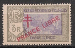 Inde - 1941-43 - N°Yv. 169b - 3r Gris - Variété PRANCE LIBRE - Neuf Luxe ** / MNH / Postfrisch - Unused Stamps