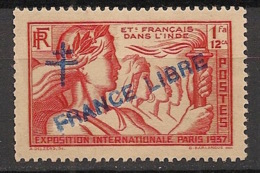 Inde - 1942 - N°Yv. 173 - 1fa12ca Rouge - France Libre - 1er Tirage - Neuf Luxe ** / MNH / Postfrisch - Indien (1892-1954)