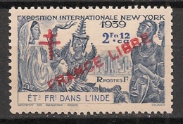 Inde - 1942 - N°Yv. 176 - 2fa12ca Bleu - France Libre - 1er Tirage - Neuf Luxe ** / MNH / Postfrisch - Unused Stamps