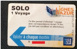 BUS .TRAM.CREABUS.NICE.TRANSPORTATION TICKET.FRANCE.*** - Europe