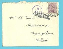 140 Op Brief PMB 4 Naar Bergen Op Zoom (Holland)  Stempel CENSUUR GEPASSEERD + C.F. (censuur / Folkestone) - Army: Belgium