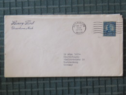 USA 1930 Cover Dearborn To Germany - Roosevelt - Henry Ford Logo - Briefe U. Dokumente