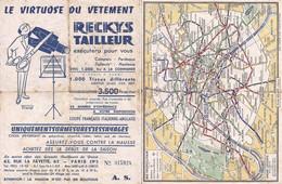 """FRANCE Map Carte De PARIS Andre Leconte Avce Publicity RECKYS Tailleur """"Le Virtuose Du Vetement"""" 1940' 18x14cm Aprox. - Callejero"""