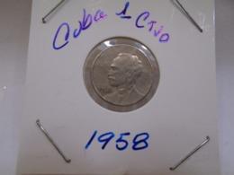 Cuba, Un Centavo 1958, Apostol Jose Marti, Brilliant, UNC. - Cuba