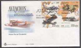 ESPAGNE SPANIEN SPAIN ESPAÑA 2001 M/S FIRST FLIGHTS OF SPANISH AVIATION FDC ED HB3790 YV F96-3357-60 MI B97-3623-26 - 2001-10 Storia Postale