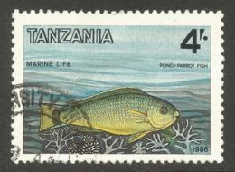 TANZANIA. 4/- FISH. USED - Tanzania (1964-...)