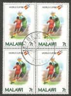MALAWI. 7t FOOTBALL BLOCK OF FOUR - Malawi (1964-...)