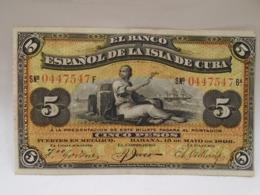 Cuba, 5 Pesos 1896, El Banco Espanol De La Isla De Cuba, PLATA, Scarce, Rare, Crisp, UNC. - Cuba