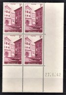 MONACO 1938 / 1941 - BLOC DE 4 TP / Y.T. N° 178 - NEUFS ** / COIN DE FEUILLE / DATE - Ongebruikt