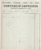 77 VILLENEUVE-SUR-BELLOT - Boulangerie, Pâtisserie, Farine, Son, Issues, BERTHELIN-DEFRANCE - Facture De 1922 - France
