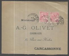 Monaco Lettre Du 24 03   1901    Pour  Carcassonne    '(  France) Affranchissement 30  C - Covers & Documents