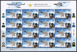 South Korea 2019 R.O.K. Air Force 70th Anniversary, Plane, Fighter, Pilot, Military, Avion, Full Sheet - Corea Del Sud