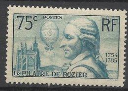France N° 313  Pilatre Du Rozier  Montgolfière   Neuf   * *  TB  = MNN H VF Soldé  à Moins De 15  %  ! ! ! - Francia