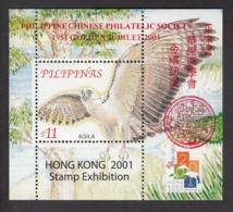 Philippines, 2001 Bird, Birds, Eagle, S/S Overprinted, MNH** Excellent Condition - Águilas & Aves De Presa