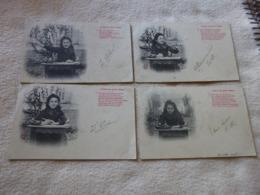 LOT DE  4 ILLUSTRATIONS  PETITE FILLE ...LETTRE AU PETIT JESUS ..SIGNE A.B ET CT ??? - 1900-1949