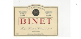 ETIQUETTE  CHAMPAGNE BINET   1988   A RILLY LA MONTAGNE  *** A  SAISIR  **** - Champagne