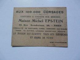 VIEUX PAPIERS - PUBLICITE : Costumes & Corsets Sur Mesures - Maison EPSTEIN - Publicités