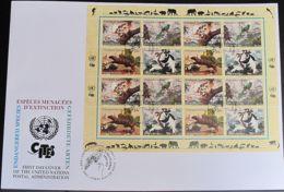 UNO NEW YORK 2001 Mi-Nr. 856/59 Kleinbogen Gefährdete Arten FDC - New York -  VN Hauptquartier