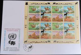 UNO NEW YORK 2002 Mi-Nr. 890/93 Kleinbogen Gefährdete Arten FDC - New York -  VN Hauptquartier