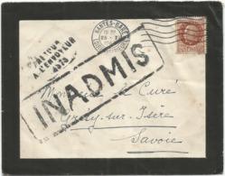 PETAIN 1FR50 LETTRE DEUIL NANTES GARE 25.1.1943 POUR SAVOIE + GRIFFE INADMIS + RETOUR - Storia Postale