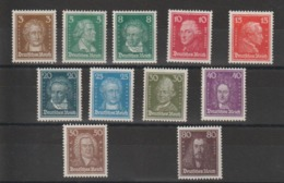 Allemagne 1926 Série Personnalités 379-389 11 Val ** MNH - Duitsland