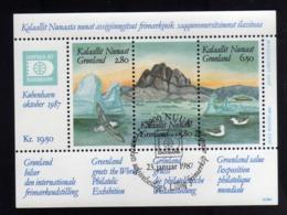 GREENLAND GRONLANDS GROENLANDIA GRØNLAND 1987 HAFNIA 87 Stamp Exhibition PHILATELIC SHEET FOGLIETTO FIRST DAY CANCEL FDC - Blocks & Sheetlets