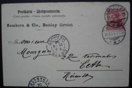 Boulay 1904 (Bolchen Lorraine, Moselle) Somborn & Cie, Carte Pour Cette (Sète Hérault) - Poststempel (Briefe)