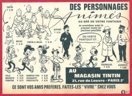 Les Personnages Animés Tintin. En Caoutchouc: Tintin, Milou, Haddock, Felix, Modeste... Magasin Tintin. 1965. - Publicités
