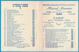 ANCIENNE MAISON SOMMIER FRERES MARCEL SOMMIER SUCCESSEUR TOURS 161 RUE DE L'ALMA TARIF AU 1er OCTOBRE 1934 - Publicités