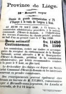 Affiche 1920 Adjudication Pour Travaux Oupeye Heure Le Romain Route De Tongres à Visé  Tixhon Commissaire Voyer Hermalle - Afiches