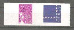 LUQUET Y&T N° 3729D**- 1,11€ Lilas . Légende RF- Type 2 - Autoadhésif. Avec Grande Vignette Personnalisée SOCOCODAMI.TB. - Personalisiert
