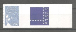 LUQUET Y&T N° 3729B**- 0,75 € Bleu Ciel. Légende RF- Type 2 - Adhésif. Avec Grande Vignette Personnalisée SOCOCODAMI.TB. - Personalisiert