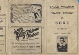 SALLE WAGRAM GRANDE REUNION DE BOXE JEUDI 12 JANVIER 1950 - Publicités