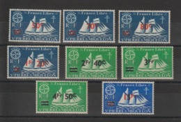 Saint Pierre Et Miquelon 1945 Série Londres Surchargés  315-322 8 Val ** MNH - St.Pierre & Miquelon