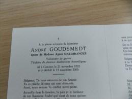 Doodsprentje André Goudsmedt Komen 21/11/1922 - 15/11/2000 ( Agnès Maelbrancke ) - Religion &  Esoterik