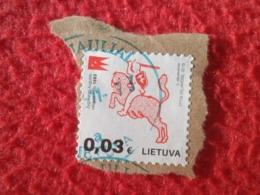 SELLO USADO USED STAMP LITUANIA LIETUVA SELLOS USADOS STAMPS EN FRAGMENTO DE PAPEL 0,03 2016 ZYGIMANTO AUGUSTO 1553.... - Lituania