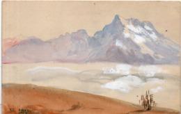 CPA Artisanale Peinte Main  - Mer De Nuages Dans Les Dents Du Midi - LEYSIN  - Signé : R. Janu 1918   (116518) - Other