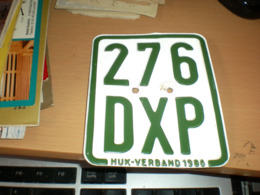 Motor Bike Number Plate Huk Verband 1986 276 DXP - Number Plates
