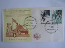 België Belgium 1964 FDC Verzet En Bevrijding 1944 Résistance Et Liberation Monument Bastogne Air Borne Cob 1296-1297 - 1961-70