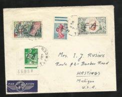 Algérie RRR Lettre Par Avion MARNIA Pour USA Le  07 /07/1962 N° 1231; 1233; 1343 Et 1344 Surcharge EA à La Main TB  +++ - Cartas