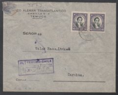 CHILE - CHILI - TEMUCO / 1937  LETTRE RECOMMANDEE POUR CARAHUE (ref LE542) - Chili