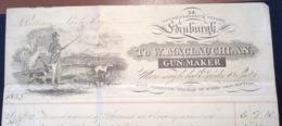 W. MACLAUCHLAN GUN MAKER EDINBURGH Illustrated Cover 1833(GB Fusil Chasse Riffle Dog Horse Lettre US Scotland - Grande-Bretagne