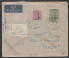 IRAQ - IRAK - MOSUL - MOSSOUL / 1956 LETTRE AVION RECOMMANDEE POUR LA FRANCE - BELFORT (ref LE549) - Iraq