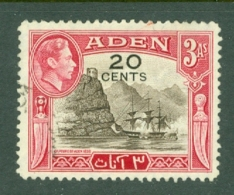 Aden: 1951   KGVI - Surcharge   SG39   20c On 3a     Used - Aden (1854-1963)